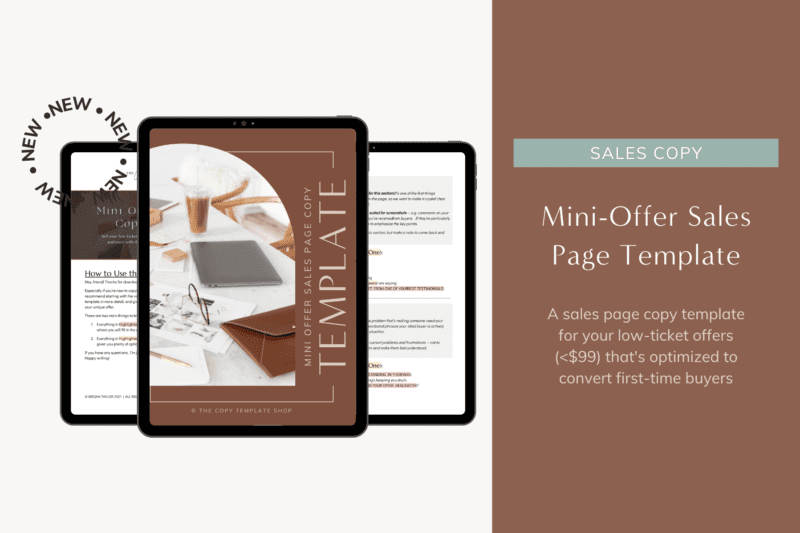 sales page copy template for low-ticket offers